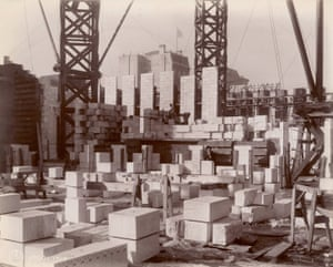 Interior work : construction of walls, looking southwest, 1904. Building New York
