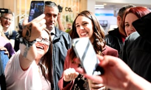Labour Party leader Jacinda Ardern meets supporters at on the final day of campaigning in New Zealand's election.