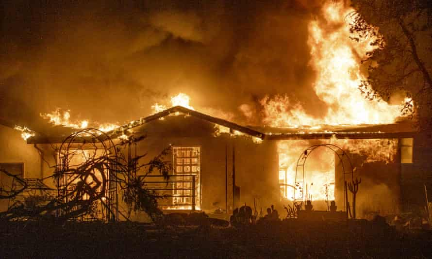 A house burns in the Zogg Fire near Ono, California, in September.