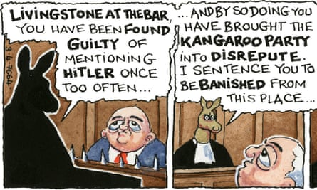 Two frames from the start of the first of four If… strips by Steve Bell about the Labour party's handling of Ken Livingstone.