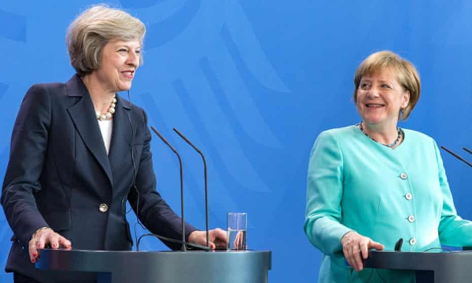 Theresa May with Angela Merkel in Berlin