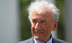 Elie Wiesel outside the White House, Washington, in 2010 after a private lunch with President Barack Obama.