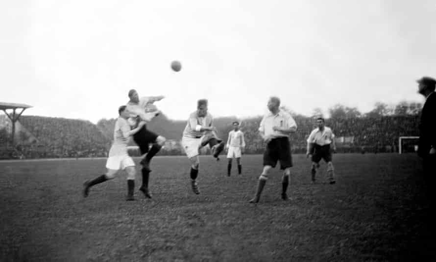Action from the France v England game on 15 May 1923 at the Stade General John Joseph Pershing in Paris. England won 4-1.