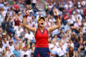 Emma Raducanu celebrates after taking the first set of the match.