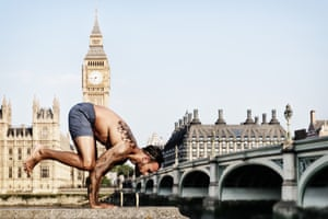 Holding the rather precarious crow pose in front of Big Ben