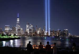 New York: The Tribute in Light is illuminated above lower Manhattan and One World Trade Center