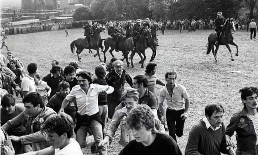 The confrontation between riot police and miners at Orgreave in 1984