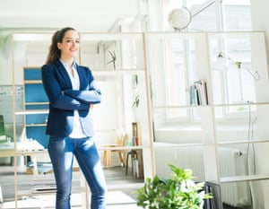 Portrait of a businesswoman in jeans and a suit jacket
