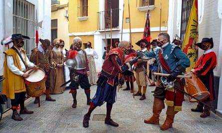 Recreation of Surrender of Breda by Velázquez in Seville