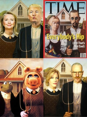 From a Time magazine cover to a backdrop for Walter and Skyler White of TV's Breaking Bad, American Gothic has inspired hundreds of parodies.