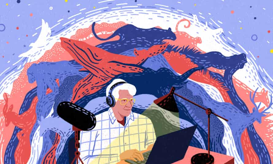 An abstract red and blue illustration shows Bernie sitting with headphones at his computer in his home studio. Behind him, a sea of animals he's recorded dance, including a humpback whale, gorillas, and an elephant. The illustration uses blue and white to provide good contrast for people with low vision.