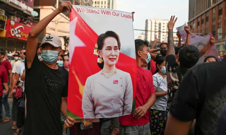 Demonstrators protesting against the military coup and demand the release of Aung San Suu Kyi in Yangon, Myanmar, in February.