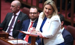 Liberal senator Hollie Hughes, pictured, asked two legal academics if it was their usual practice to 'use media slogans' in their submissions