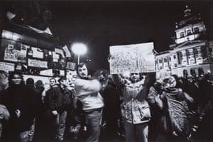 24 November 1989, 21:00: Protestors in Wenceslas Square celebrate the resignation of the Presidium of the Communist Party