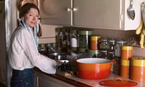 American writer Joan Didion prepares a meal in her Malibu kitchen, October 1972.