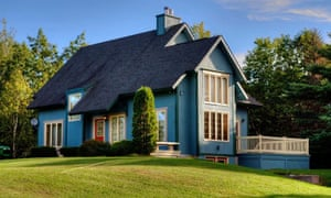 A three-bedroom home with water frontage for sale in Nova Scotia, Canada.