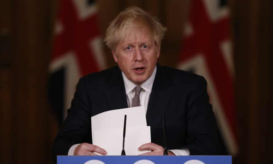 Boris Johnson delivering his latest coronavirus press conference on 26 November.