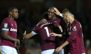 Angelo Ogbonna is congratulated after scoring West Ham's second goal against AFC Wimbledon