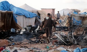 The aftermath of the bombing of the al-Kammouneh refugee camp in Syria.