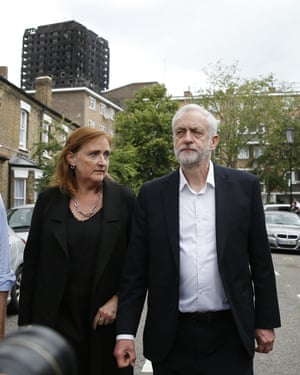 Dent Coad with Jeremy Corbyn visiting the area in the shadow of Grenfell Tower.