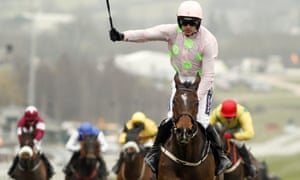 Ruby Walsh celebrates after winning the Arkle on Douvan