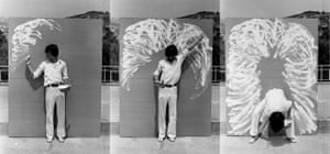 Beginning in 1976, The Method of Drawing explores the limits of the human body through drawing and performance. Questioning the bodily relationship to the canvas, Lee approaches the surface from alternative directions: behind, on top, next to, or with his back turned