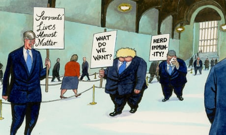 Steve Bell  on the MPs queueing to vote in the Commons – cartoon