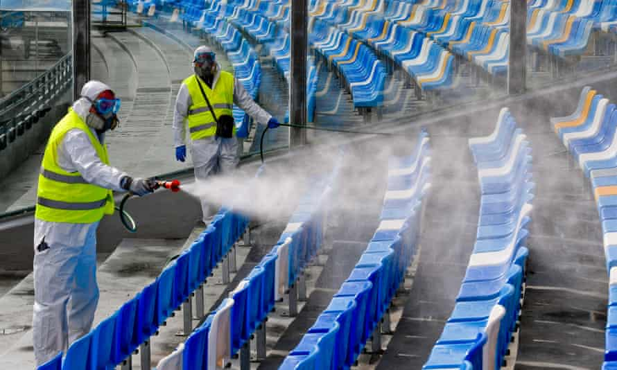 Operators of Napoli Servizi sanitise the San Paolo stadium in Naples