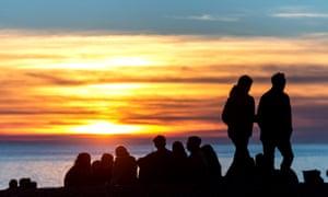 The sun setting over Brighton beach on 24 February 2019