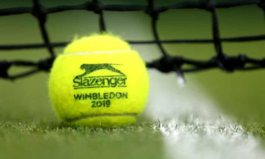 A detailed view of the Official 2019 Wimbledon tennis ball.