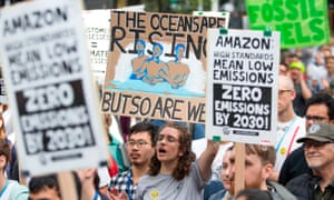 Amazon workers lead a walk out to demand that leaders take action on climate change in September.