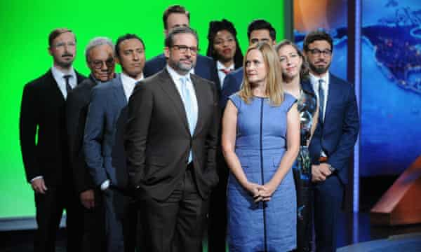 Distinguished alums of The Daily Show visit the set for Jon Stewart's final show.