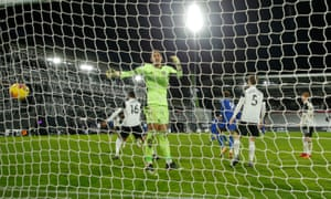 Fulham keeper Alphonse Areola is beaten by a shot from Mason Mount of Chelsea that opens the scoring.
