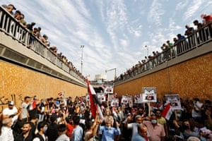 Baghdad, Iraq, Iraqi demonstrators gather to mark the first anniversary of anti-government protests