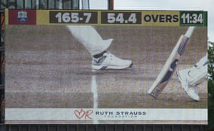 Detailed view of the big screen displaying the no ball by Woakes.
