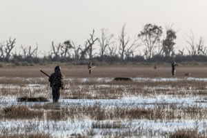 Hunters during the opening morning of Victoria's duck hunting season. Little Lake Buloke, Victoria, Australia. This year's has been shortened to 20 days from typically about 90