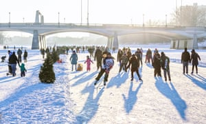 Ice skating on the Red River Mutual Trail, Winnipeg.