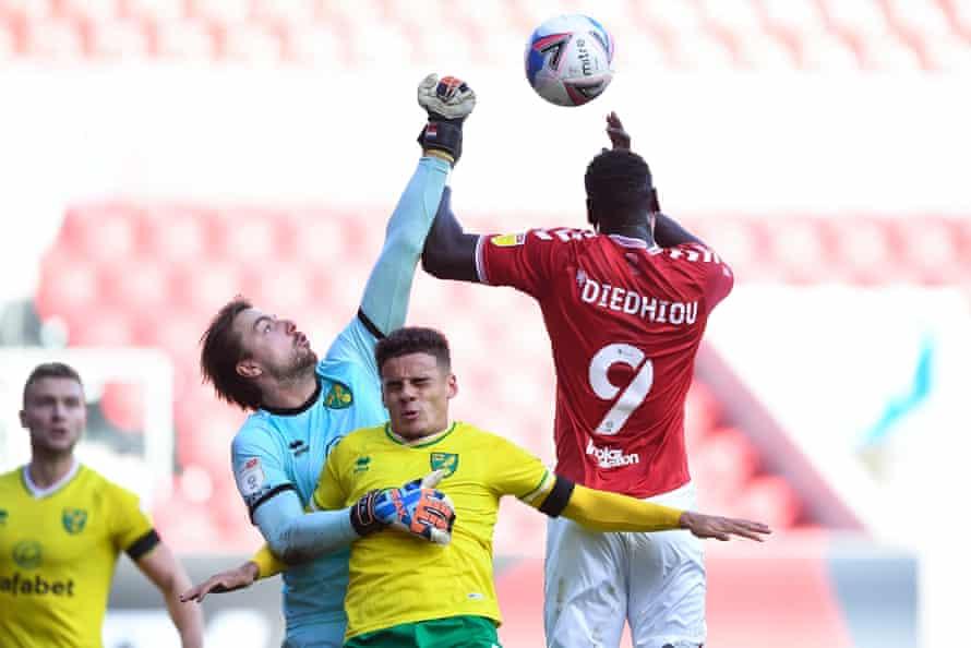 Tim Krul in action away at Bristol City last October.