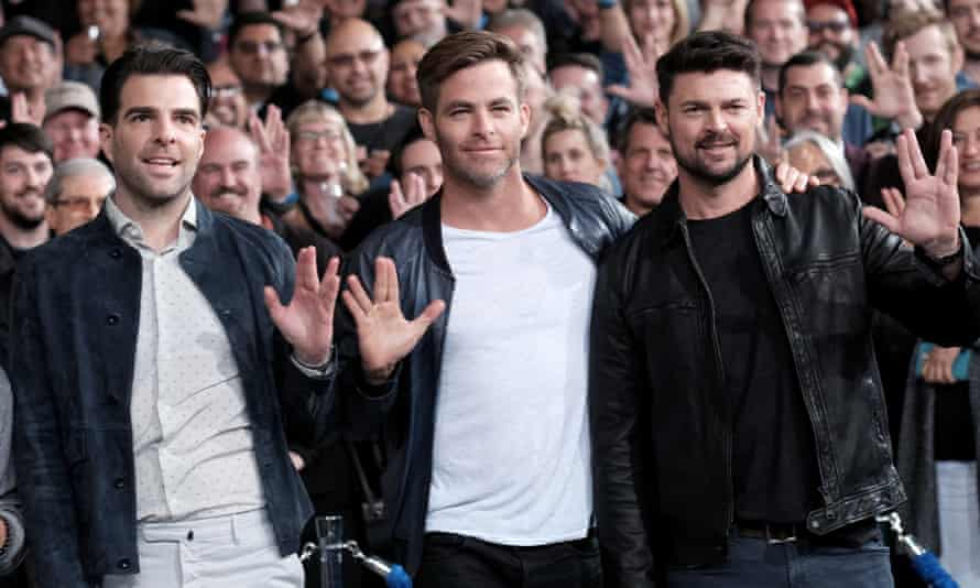 Zachary Quinto, Chris Pine, and Karl Urban are beamed up