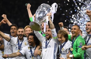 Sergio Ramos lifts the trophy.