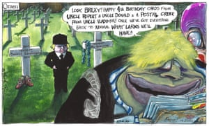 Martin Rowson cartoon 23/6/20: Boris Johnson reads birthday cards from 'Rupert', 'Donald' and 'Uncle Vladimir' to a demonic child, Brexy