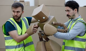 Thinking outside the box … puppeteers act out Robox, star of Amazon warehouse play Fulfilment.