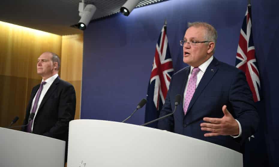 The head of Australia's Covid-19 commission Nev Power and prime minister Scott Morrison
