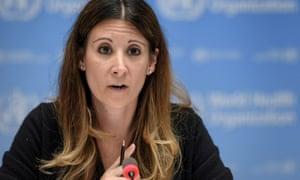 Maria van Kerkhove at a press conference