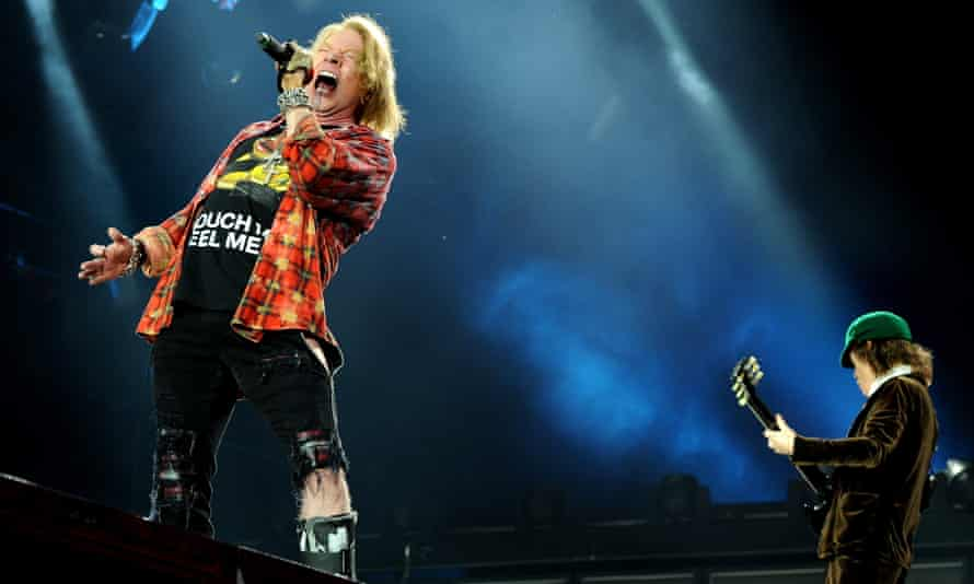 'Damage and derangement': AC/DC's Axl Rose and Angus Young at Etihad Stadium, Manchester last week