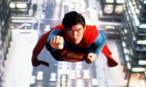 A still from the film Superman, played by Christopher Reeve.