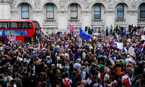 Protesters in Whitehall on Wednesday after Boris Johnson suspended parliament.