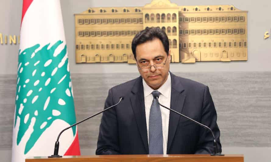 Lebanon's prime minister, Hassan Diab, delivering the statement in a live address.