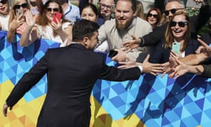 Volodymyr Zelenskiy greets supporters before his inauguration ceremony in Kyiv on Monday.