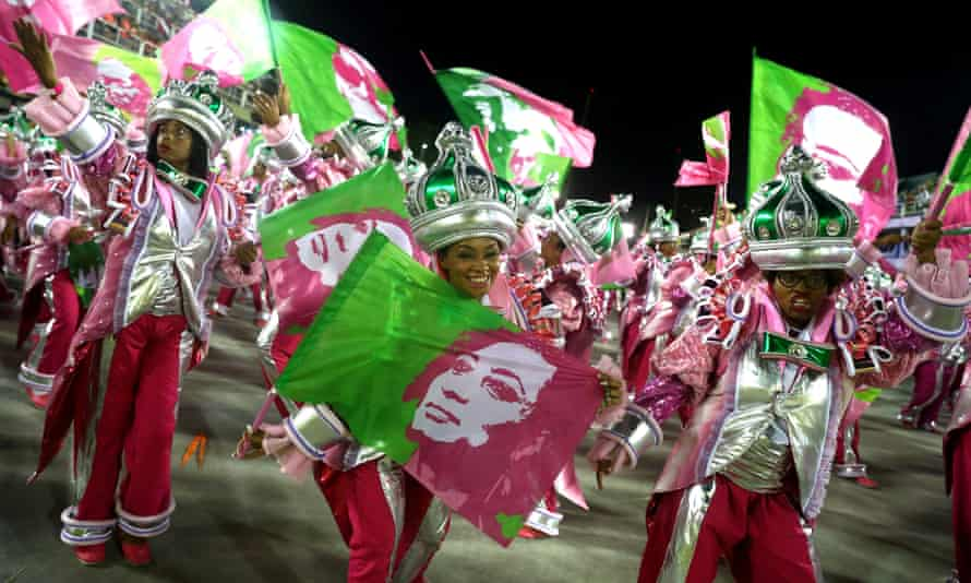 Revellers from Mangueira samba school perform during the second night of carnival in Rio de Janeiro, Brazil on 5 March.